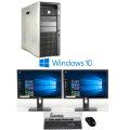 """PC Komplett System HP Z820 + 2x Dell 24"""" U2412M + Win 10 Pro x64 + Maus & Tastatur"""