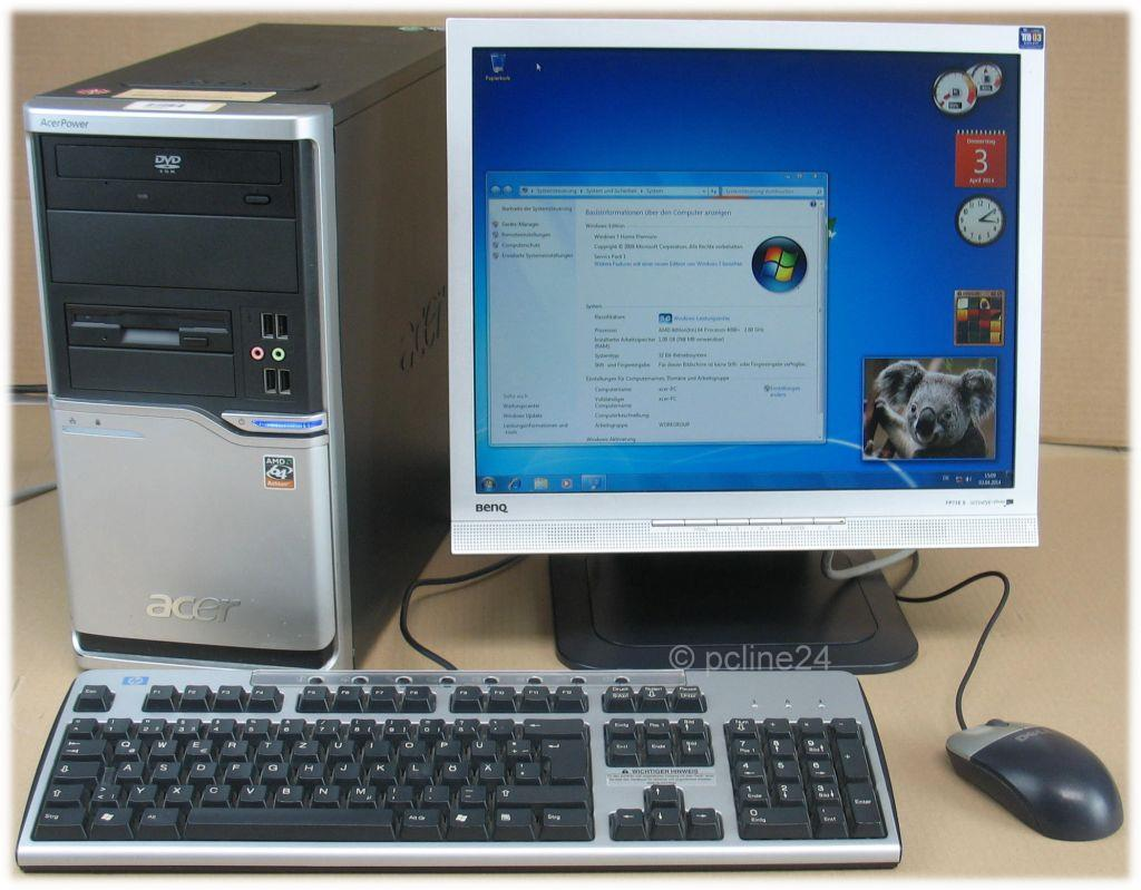 Komplett-PC-System-Acer-Tower-17-Monitor-Windows-7-Home