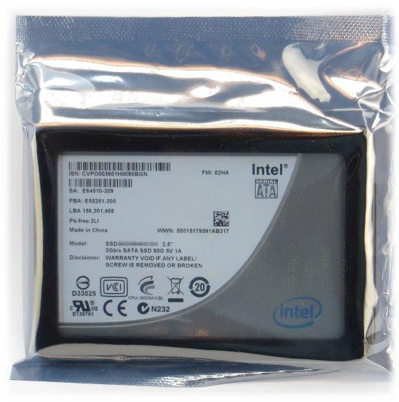 "80GB Intel SSD Festplatte 2,5"" SATA2/SATAII HDD"