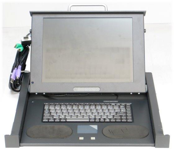 """Knürr TFT Monitor Drawer 19"""" Rack Console mit Tastatur deutsch und Touchpad"""