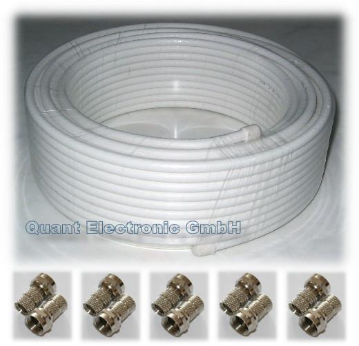 Koax SAT Kabel 20m >90db + 10 F-Stecker Digitaltauglich NEU