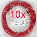 10x Patchkabel CAT6e NEU/NEW 10m rot S/FTP Gigabit Ethernet Kabel Cable