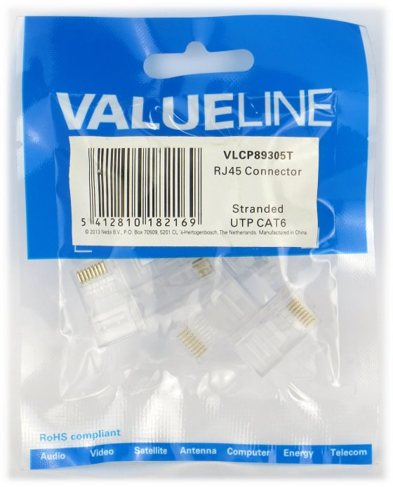 ValueLine 10x RJ45 Connector Stecker UTP Cat6 NEU Netzwerk Gigabit Ethernet