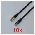10x LAN/Patch-Kabel CAT.5e 3m schwarz FTP RJ-45 NEU/NEW