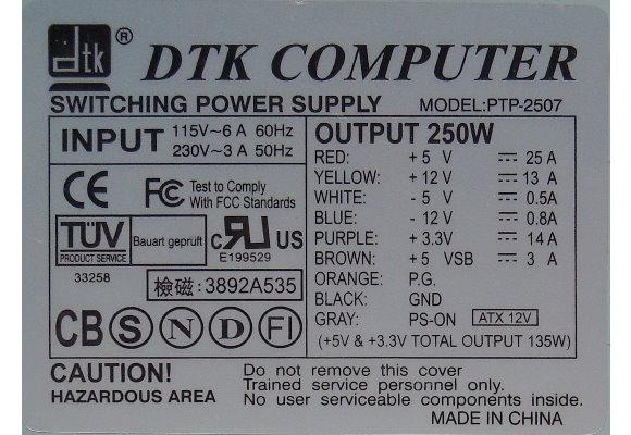 DTK Computer PTP-2507 250W ATX Netzteil 250 Watt-Kabel & Adapter ...
