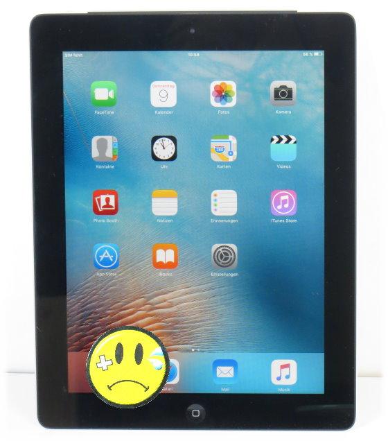 Apple iPad 2 WLAN WiFi only 16GB Tablet PC schwarz-silber B-Ware Glasbruch