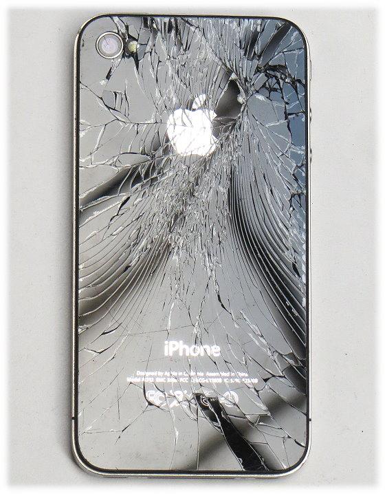 Apple iPhone 4 schwarz 32GB SIMlock-frei C- Ware Glasbruch ohne Ladegerät