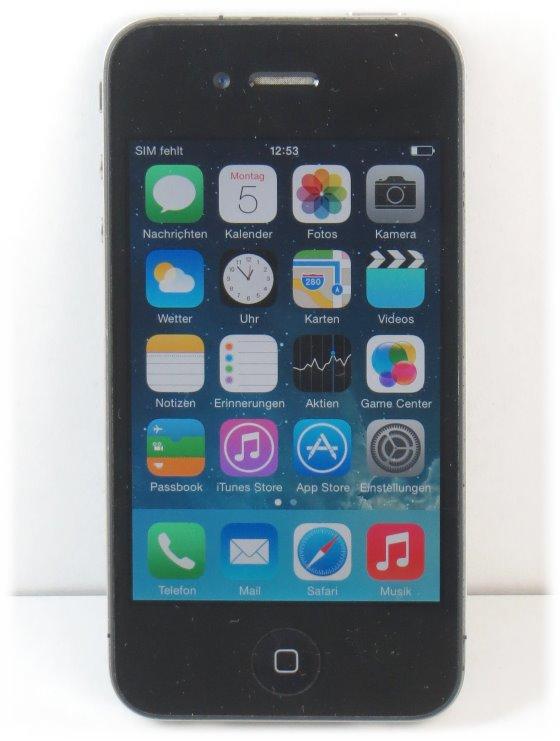 Apple iPhone 4 B- Ware Kratzer Apple ID gesperrt / iCloud-Sperre 32GB schwarz-silber