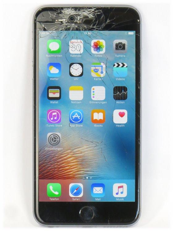Apple iPhone 6 Plus 128GB silber Smartphone ohne Ladegerät C- Ware Glasbruch