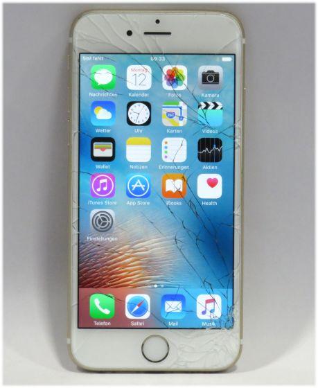 Apple iPhone 6 weiß Gold 64GB Smartphone C- Ware Glasbruch ohne Ladegerät