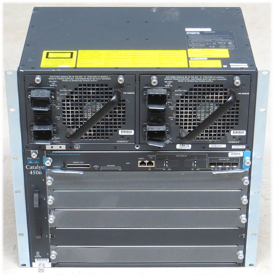 Cisco Catalyst 4506 Switch WS-C4506 mit WS-X4013+10GE 2x PSU im 19 Zoll Rack