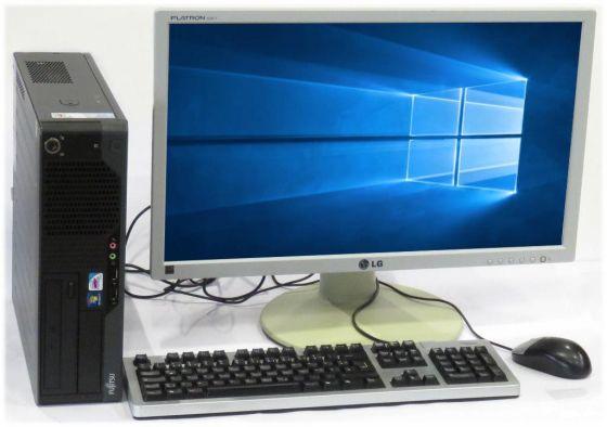 """Komplett PC Fujitsu Esprimo E5731 SFF Dual Core Leise + 24"""" LG Monitor + Windows 10"""