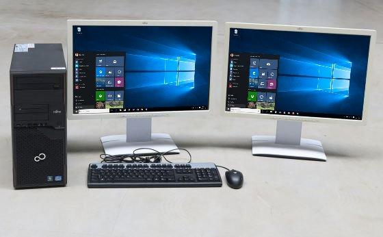 """Kompletter PC Arbeitsplatz Fujitsu P710 Core i5 3470 3,2GHz + 2x 24"""" TFT FullHD + Win 10 Pro"""