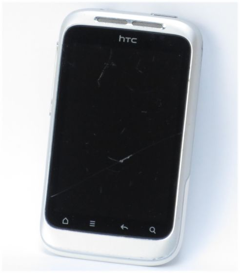 HTC Wildfire S Smartphone ohne Ladegerät C- Ware Glasbruch