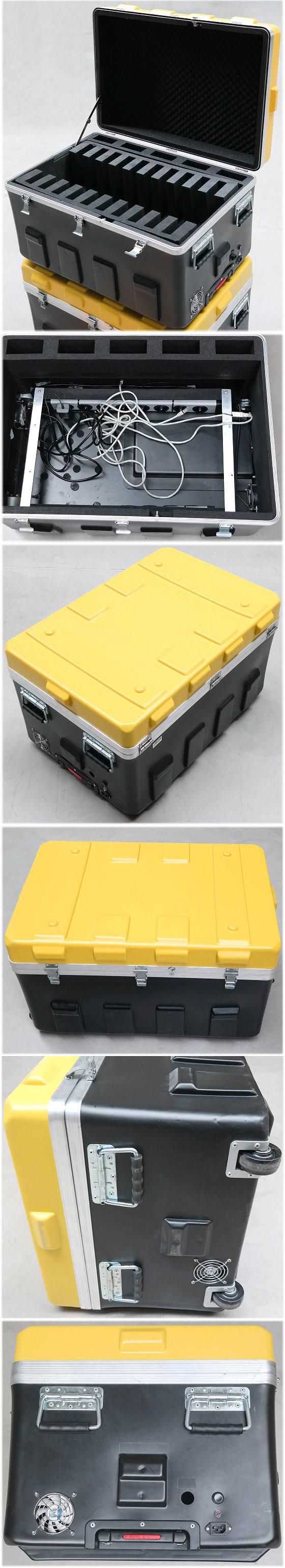 Intellididact Intellicase Notebookkoffer Hard Case Trolley auf Rädern mit 2x Steckdosenleiste