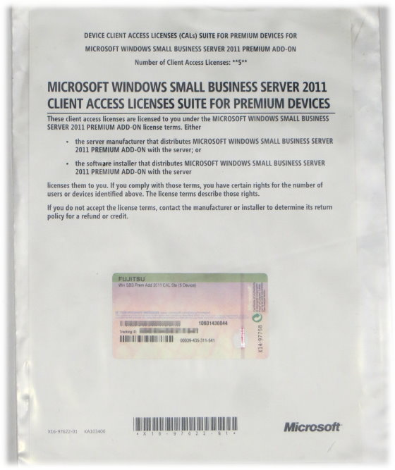 Microsoft Win SBS Prem Add 2011 CAL Ste (5 Device) Small Business Server