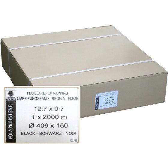 PP Umreifungsband schwarz 0,7mm x 12,7mm 2000 lfm 12 mm Rolle 406 x 150 mm