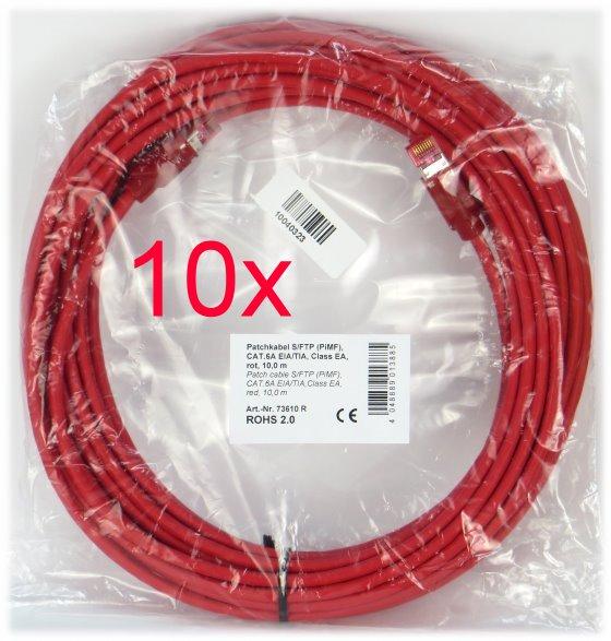 10x Patchkabel CAT6e NEU/NEW 10m rot S/FTP Gigabit Ethernet Kabel Cable