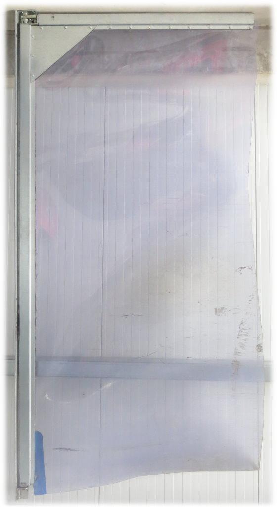 Pendeltür 2-flügelig 2920 x 2970 mm verzinkt PVC 7mm klar-transparent