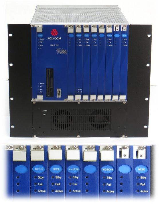 Polycom MGC-50 Video Conferencing Bridge mit NET-2 IP24 A+48/96 VIDEO+8 MUX LAN-323 MUSIC