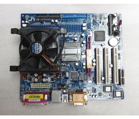 ASRock P4i45GV R5.01 Mainboard Sockel 478 mit CPU-Kühler und Blende
