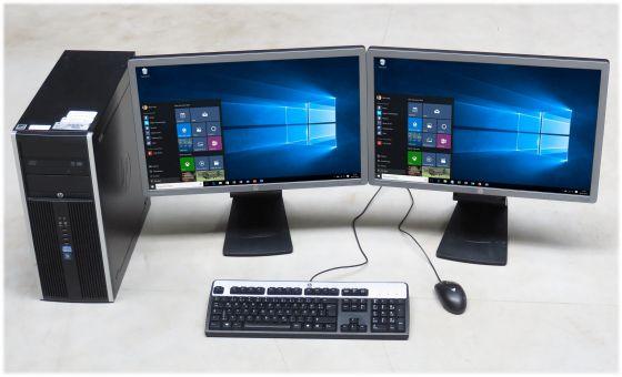 "kompletter Arbeitsplatz Computer mit HP PC i5 3th & 2x 24"" TFT LED Monitor + Maus & Tast. + Win 10"